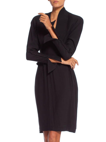 1990'S Thierry Mugler Reverse Silk Satin Fitted Lbd Dress