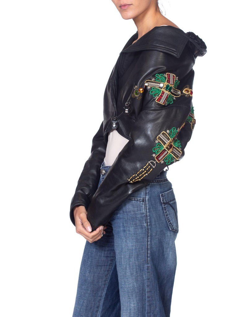 1990'S GIANNI VERSACE Iconic Crystal Cross Beaded Leather Biker Jacket From 1993