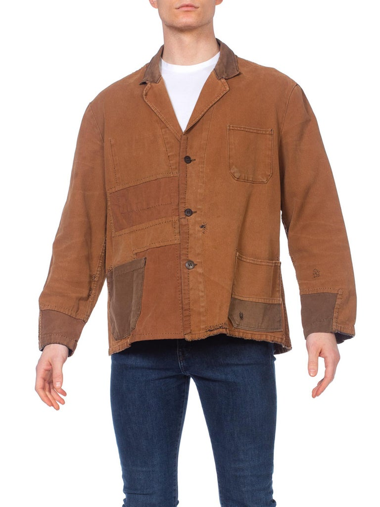 1940S Brown Patchwork Cotton Men's French Workwear Jacket