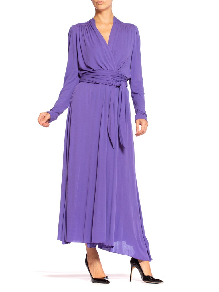 1970'S Lilac Silk Jersey Long Sleeved Wrap Dress With Sash Belt