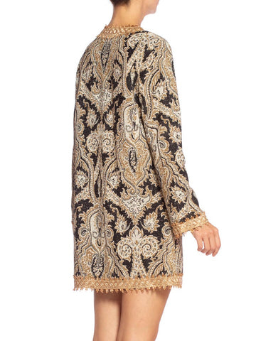 1960S Black & Gold Metallic Rayon Lurex Paisley Mod Tunic Cocktail Dress