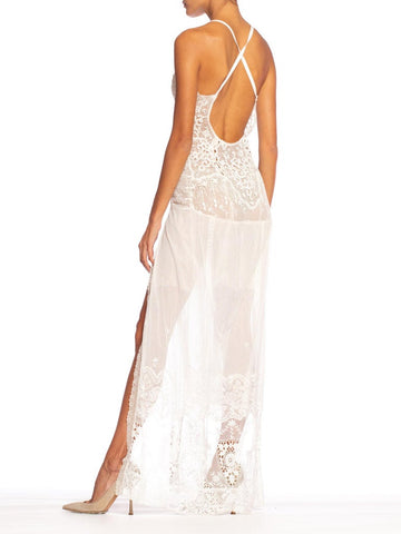 MORPHEW COLLECTION White Backless Cotton Victorian Lace & Net Dress With High Slit