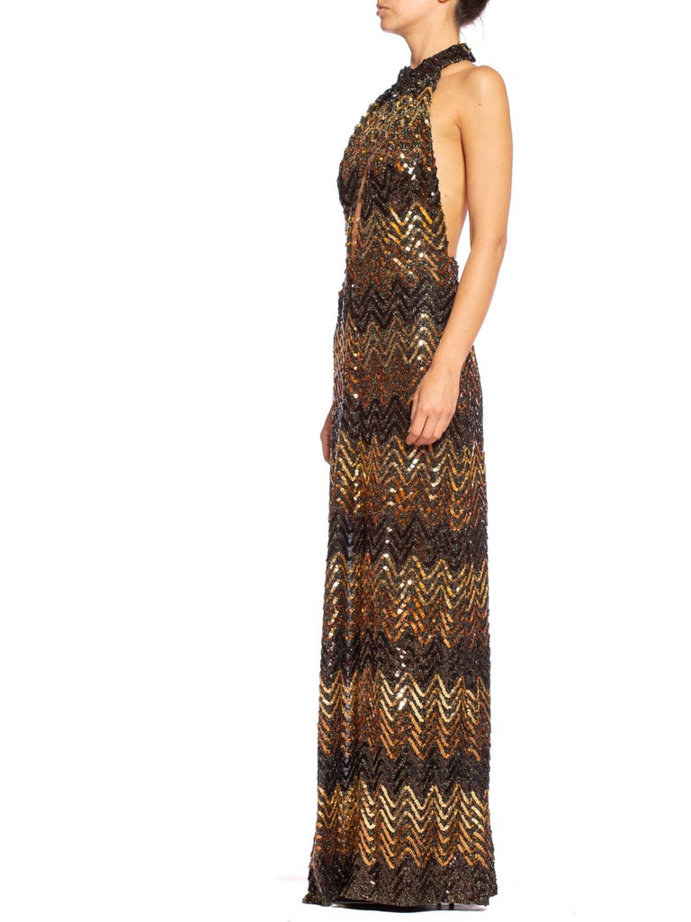 MORPHEW COLLECTION Copper & Gold Backless Disco Gown With Slit Made From 1970S Sequin Fabric