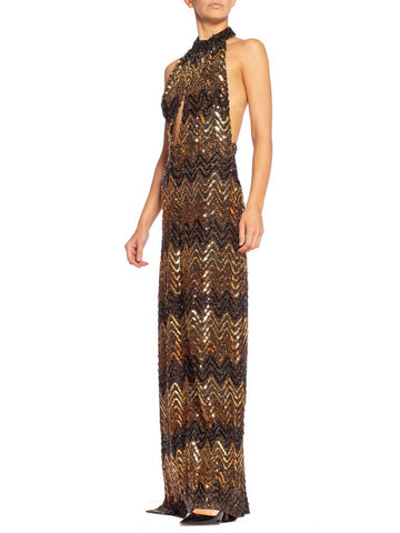 Morphew Collection 1970's Backless Disco Gown in Vintage Sequin +Lurex With Slit