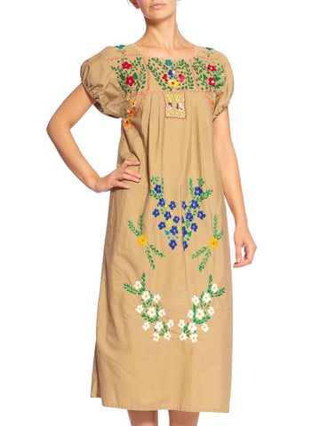 1970'S Mexican Cotton Dress Covered In Hand Embroidered Flowers