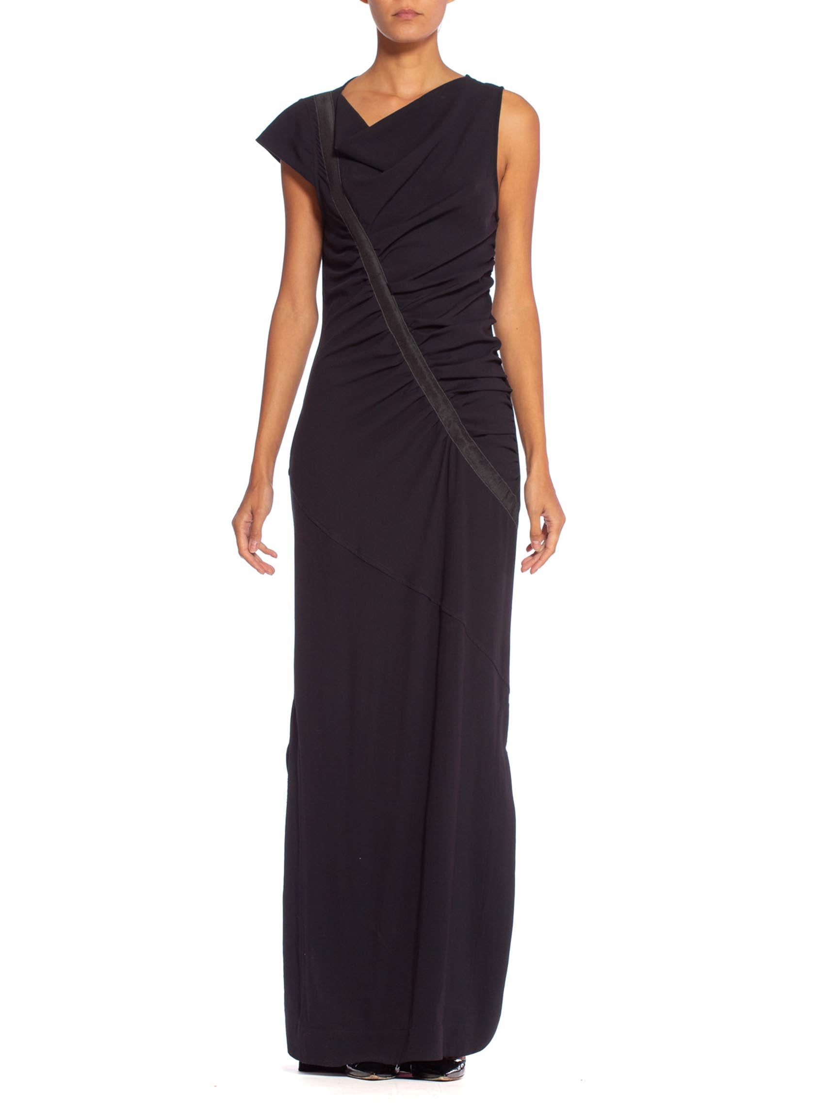 1990's Asymmetrical Draped Jersey Body-Con Dress