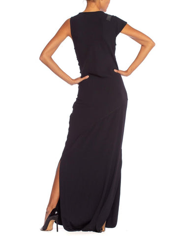 1990'S Black Polyester Jersey Asymmetrical Draped Body-Con Gown