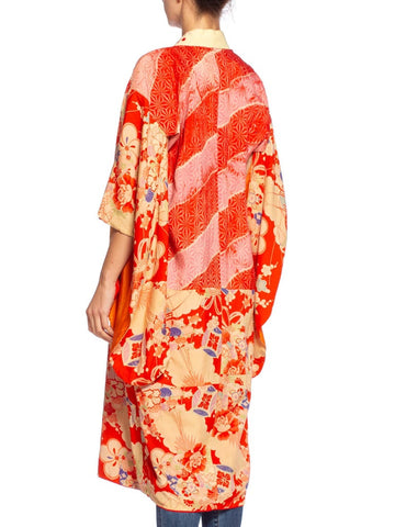1940'S Coral Red & Pink Silk Origami Crane Print Kimono With Hand Embroidery