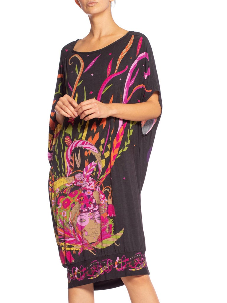 MORPHEW COLLECTION Black Rayon Blend Jersey 1970'S Psychedelic Fortune Teller Print Dress