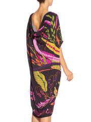 1970'S Morphew Collection Psychedelic Fortune Teller Oversized Rayon Jersey Top Dress