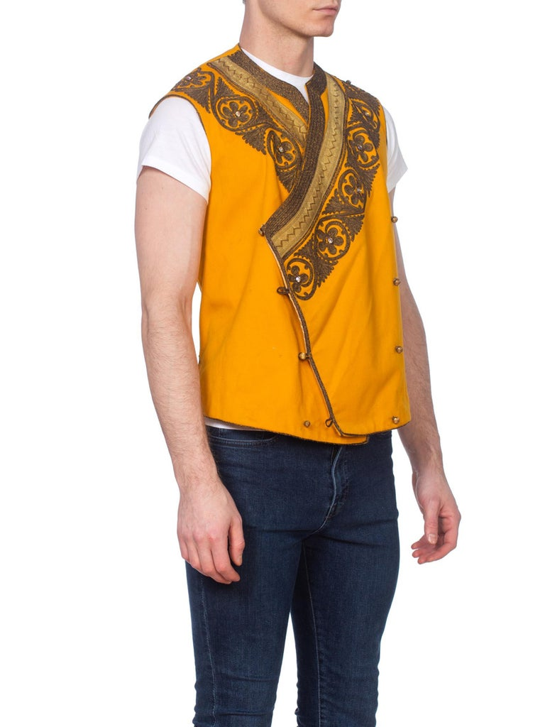 Edwardian Mustard Yellow Wool Antique Mens Silk Lined Military Vest With Gold Metal Embroidery