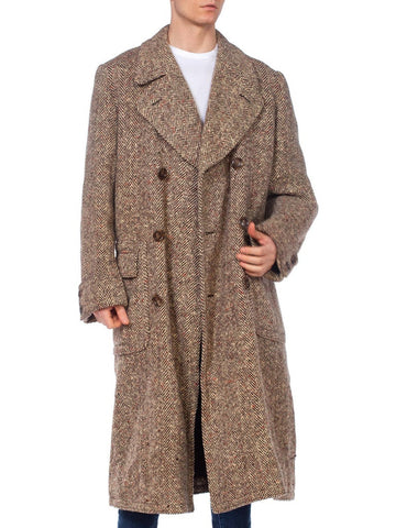 Mens Hand Woven Harris Tweed Overcoat, 1920's Style From 1960's
