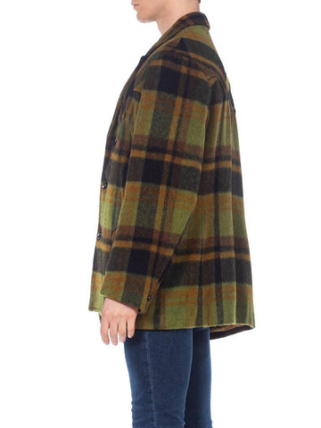 1960S Green Plaid Wool Men's Western Coat  XL