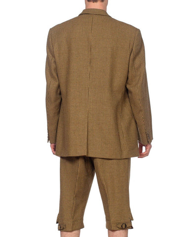 1990'S CORDINGS Green Wool Tweed Men's 20S Style English Made Sporting Pant Suit