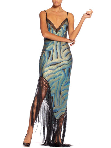 Morphew Collection Blue & Black Bias Cut Silk Metal Gold Lamé Gown With Antique Fringe