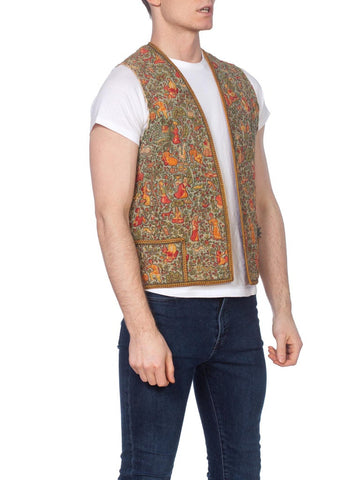 1920'S Rayon & Cotton Antique Persian Metal Embroidered Folkloric Scenic Printed Vest