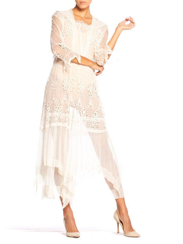 Edwardian Cream Organic Cotton Embroidered Tulle & Lace Dress With Sheer Sleeves