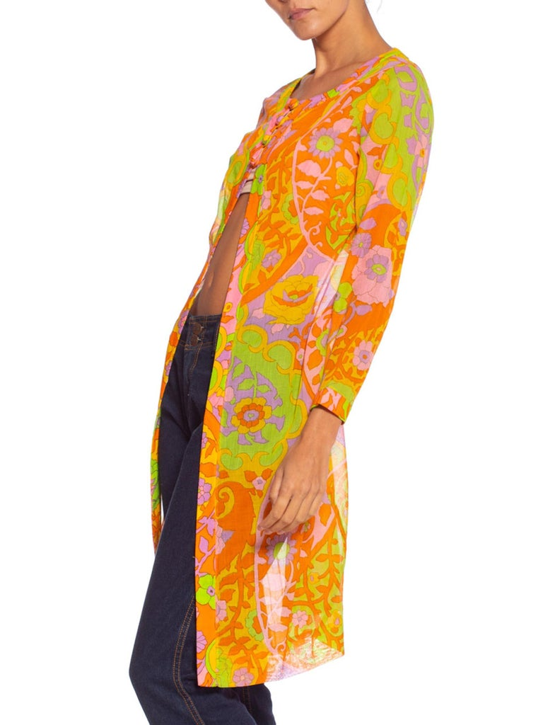 1960S Lime Green & Orange Cotton Voile Mod Psychedelic Floral Tunic Jacket Top