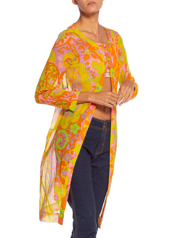 1960'S Mod Psychedelic Floral Cotton Voile Tunic Jacket Top Dress