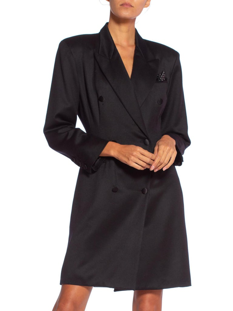 1990'S Italian Made Sateen Wool Tuxedo Blazer Dress