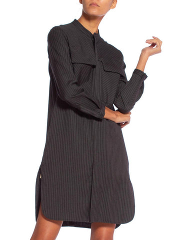 1980'S Dark Grey Wool Suiting Pinstripe Japanese Modernist Tunic Shirt Dress