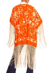 Morphew Collection 1930's Hand Embroidered Chinese Silk Fringe Kimono