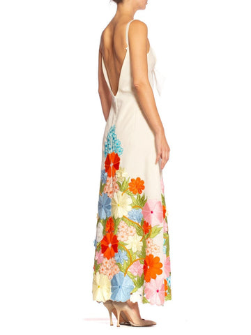 1970'S Rainbow Floral Embroidery Maxi Dress