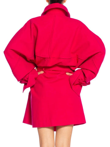 1980'S CLAUDE MONTANA Hot Pink Wool Oversized Trench Coat With Belt