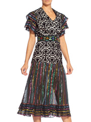 Morphew Collection Duster Wrap Dress In 1970's Fabrics With Detachable Beaded Belt