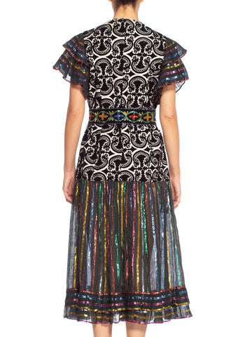 1970'S Morphew Collection Duster Wrap Dress In Fabrics With Detachable Beaded Belt