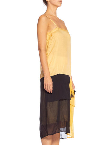 1920'S Yellow & Black Silk Chiffon Slip Dress Meant To Be Worn Under An Evening Top