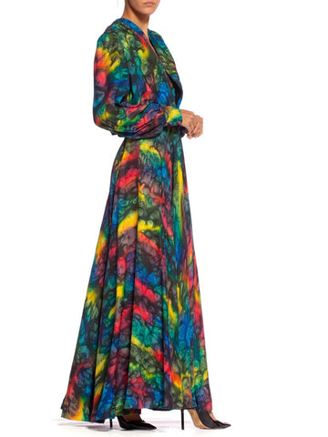1980's Couture Tie-Dye Silk Dress + Jacket XL With Beautiful Hand Details