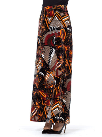 Scandinavian Pucci Style 1970's Printed Velvet Maxi Skirt