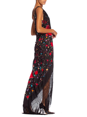 Morphew Collection Black Silk Bias Cut Hand Embroidered 1920'S Piano Shawl  Gown With Fringe