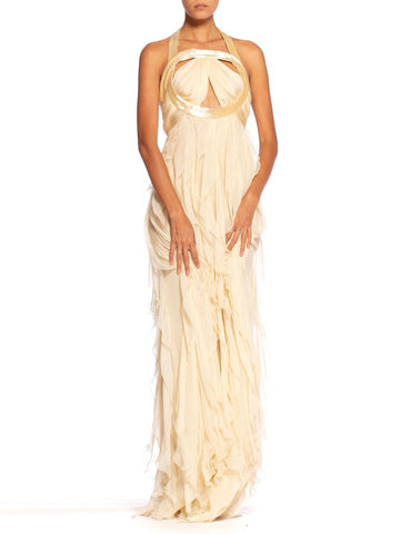 Roberto Cavalli Y2K Ruffled Silk Chiffon Cut-Out Beaded Cream Gown