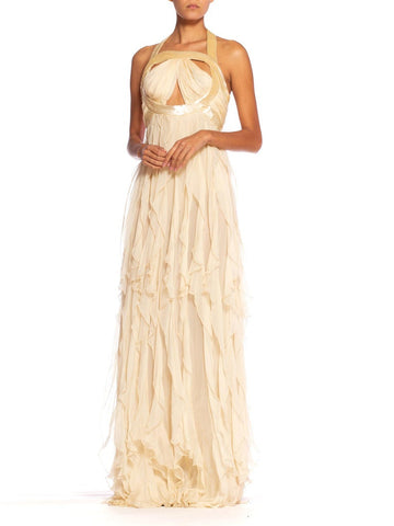 2000'S ROBERTO CAVALLI Cream Beaded Silk Chiffon Cut-Out Bodice Gown With Ruffled Skirt NWT