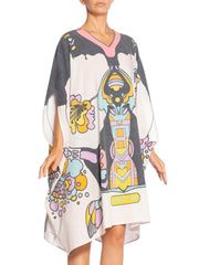 1970's Peter Max Psychedelic Print Cotton Kaftan Magic Dress
