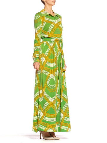 1970'S HERMES Silk Jersey Lime Green & Gold Equestrian Status Chain Print Skirt Blouse Ensemble