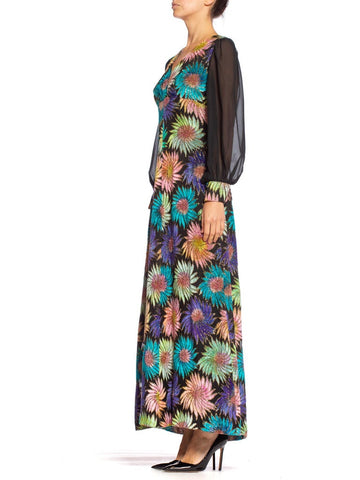 1970'S Rainbow Rayon Blend Burnout Velvet Empire Waist & Sleeved Gown Hand Tie Dyed With Gold Lurex