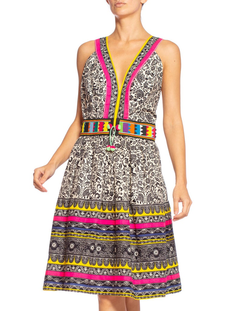 Morphew Collection Black & White 1960S Printed Cotton Dress With Colorful Handmade Ethnic Patchwork Trim