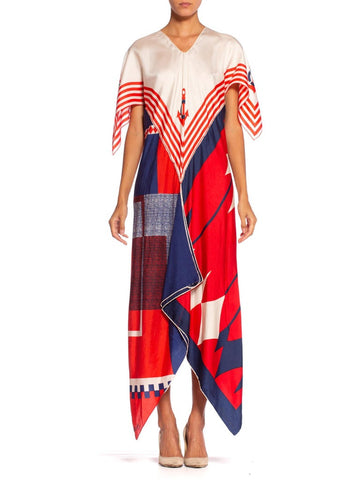 Morphew Collection Bias Cut Vintage red White Blue Nautical Scarf Kaftan Dress