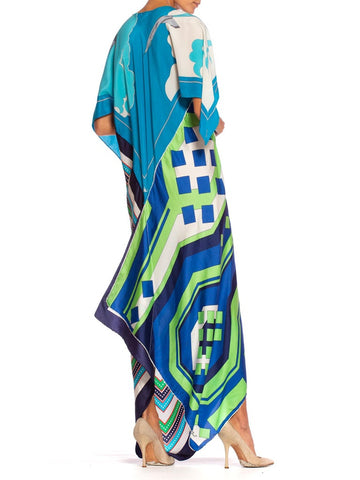 Morphew Collection Bias Cut Vintage Geometric Print Scarf Kaftan Dress