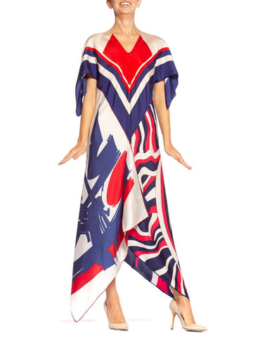 Morphew Collection Bias Cut Vintage Red White Blue Stripe Scarf Kaftan Dress