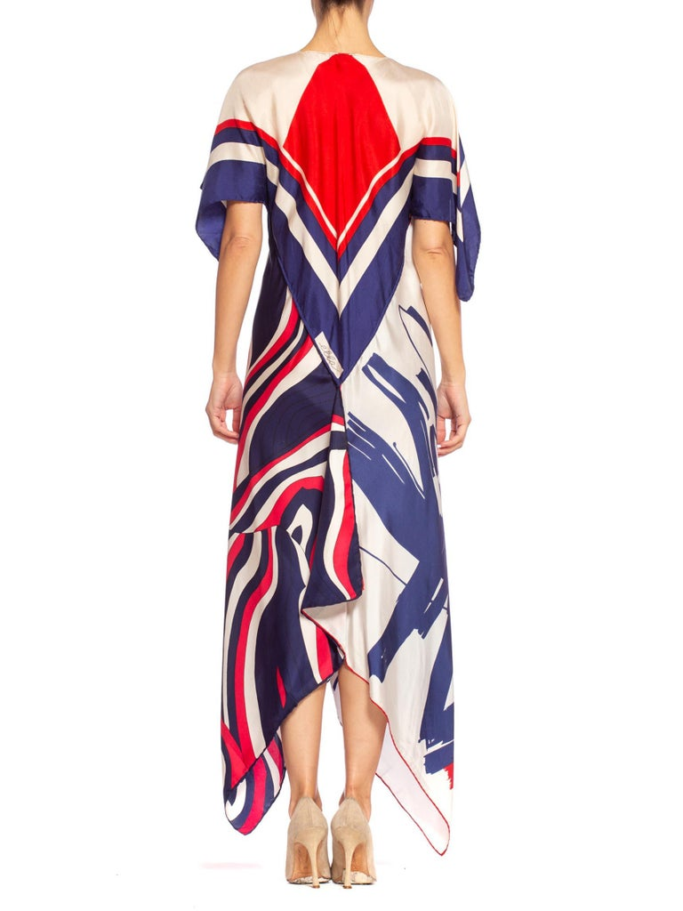 Morphew Collection Red, White & Blue Bias Cut Silk Kaftan 1970S Scarf Dress