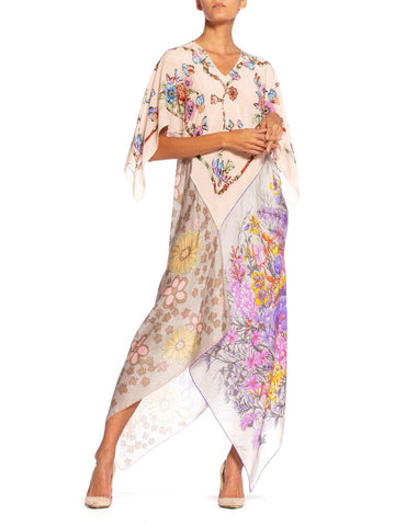 Morphew Collection Bias Cut Vintage Butterfly Floral Print Scarf Kaftan Dress