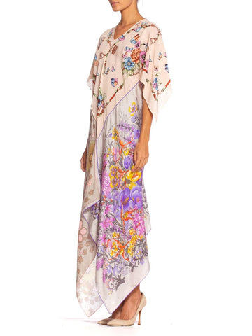 1970'S Morphew Collection Floral Butterfly Printed Silk Bias Cut  Kaftan