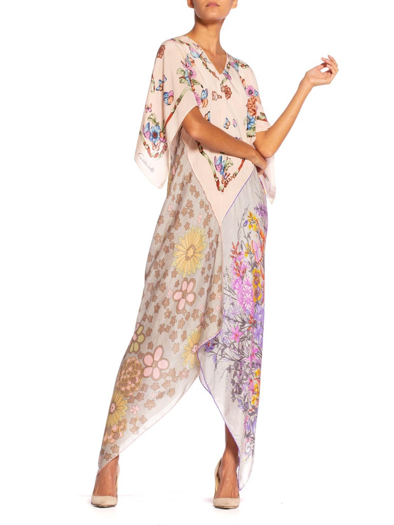 MORPHEW COLLECTION Floral Butterfly Printed Silk Bias Cut Kaftan Scarf Dress