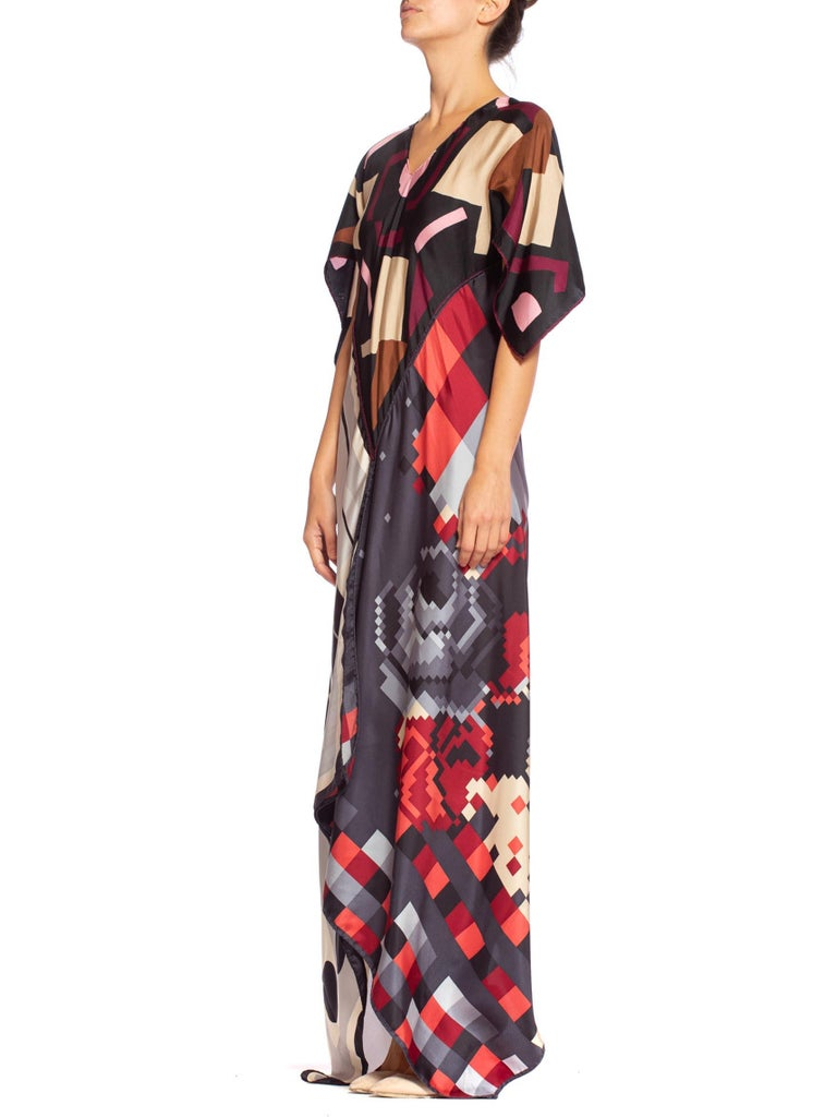 MORPHEW COLLECTION Kaftan Dress Made From 1970S Vintage Silk Scarves