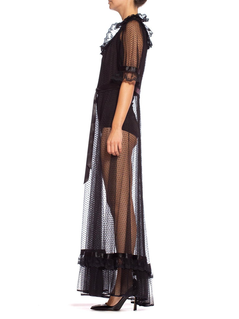 1970'S Black Sheer Polyester Lace Victorian Style Goth Lolita Maxi Dress