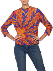 1970S Blue & Orange Polyester Jersey Psychedelic Print Top